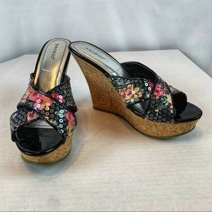 Platform Wedge Sandals Floral Sequins Slides 7.5